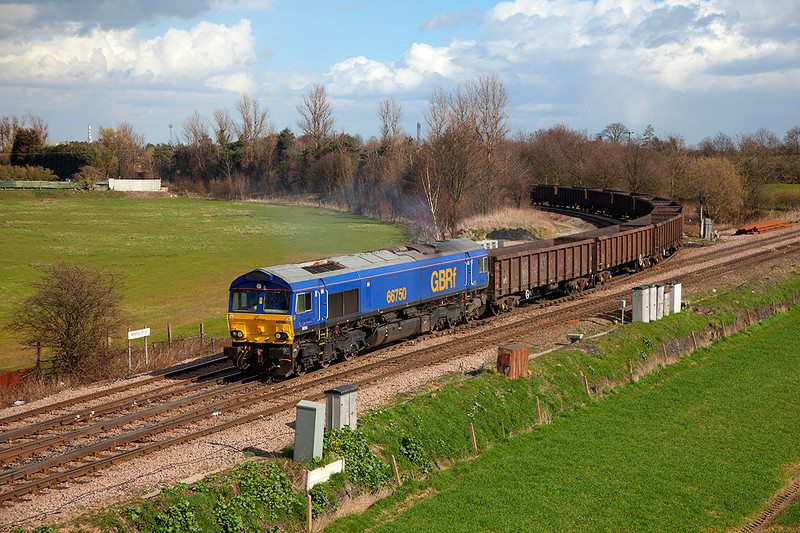 66750 restarts the 6D80 12:42 Eggborough Power Station to Doncaster Down Decoy at Whitley Bridge Junction on 21st March 2014.