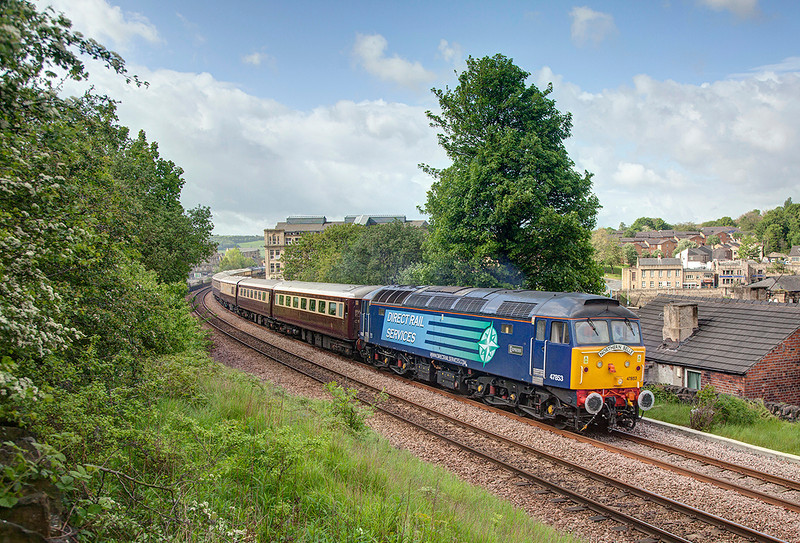 47853 (47832 on the rear) speed through Dewsbury with a 1Z30 08:16 Stockport to Alnmouth 'Northern Belle' on 10th May 2014