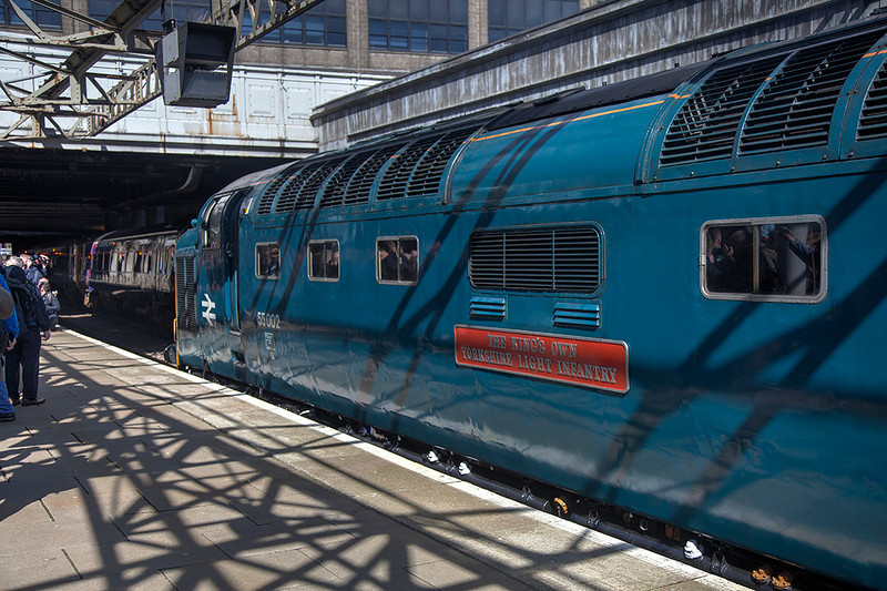 Shadow dodging :-)<br /> <br /> 55002 just after arrival at Aberdeen with the 1Z59 06:245 York to Aberdeen  ' The Deltic Aberdonian' on 12th April 2014