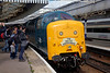 55002 draws admiring glances at Aberdeen having just run around the stock having just arrived on the 1Z59 06:24 York to Aberdeen 'The Deltic Aberdonian' on 12th April 2014
