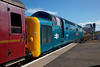 55002 at the head of the return leg of 52a Tours 'The  Deltic Aberdonian' 1Z60 15:44 Aberdeen to York on 12th April 2014.<br /> <br /> I have removed a protruding mobile comms mas from behind the locomotive