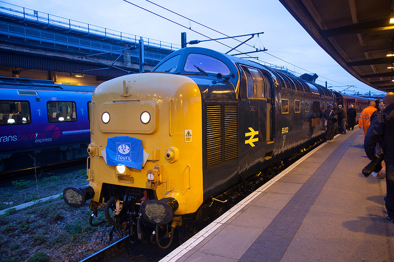 55002 having just backed onto the stock at York for the 1A59 06:24 York to Aberdeen 'The Deltic Aberdonian' 12th April 2014