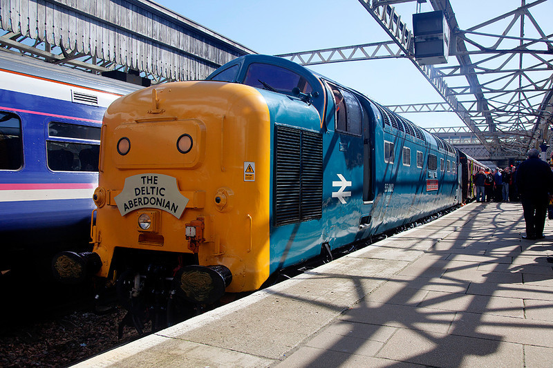 Shadow Dodging take 2! :-)<br /> <br /> 55002 after arrival at the Granite City with the 1Z59 06:24 York to Aberdeen 'The Deltic Aberdonian' KOYLI's first mainline passenger train for over 32 Years ;-)