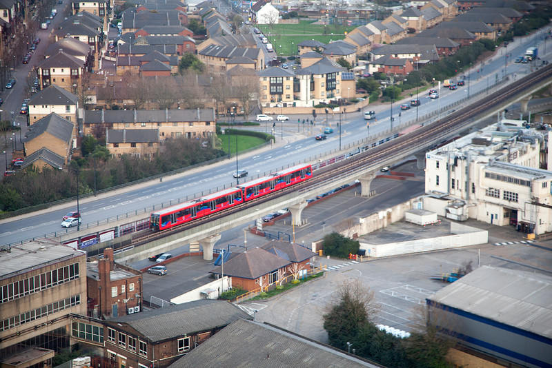 """DLR viewed from the Emirates """"air Line"""" on Friday 10th April 2015"""
