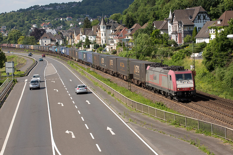 185-593 on a Southbound container train at Linz on 13th June 2015