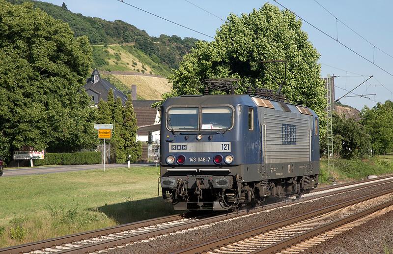 143-048 heads north light at Leutesdorf on 14th June 2015