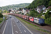 151-121 +151-026 had a heavy coal train southwards at Linz on 13th June 2015