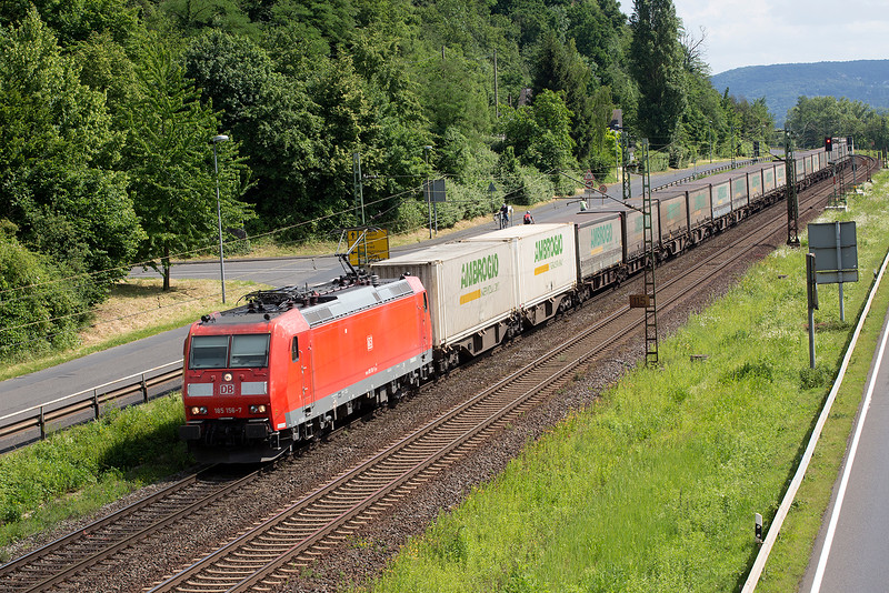 185-176 heads a lengthy container train Northbound at Linz on 13th June 2015