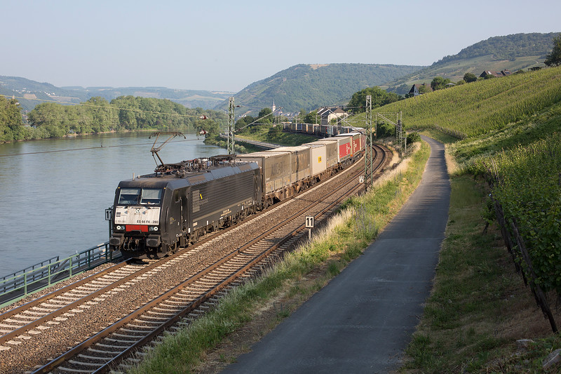 189-280 heads a long container train southward at Lorch on the morning of 12th June 2015.  <br /> <br /> This was our first train of the morning at around 08:30 as can be seen by the hillside still casting her shadow on the road.