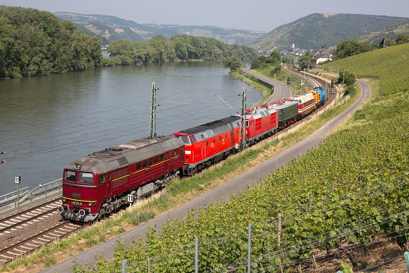 """A loco convoy  of machines bound for the DB Museum at Koblenz to feature in the following Weekends """"103 fest"""", an event to celebrate 50 years of the DB 103 locos.  The convoy consists of  (from right- left - (front to back)0, 202-563, V60-1100, 118-005, 211-049, 180-014, 219-084, & 120-274.  It ius seen passing Lorch on 12th June 2015."""