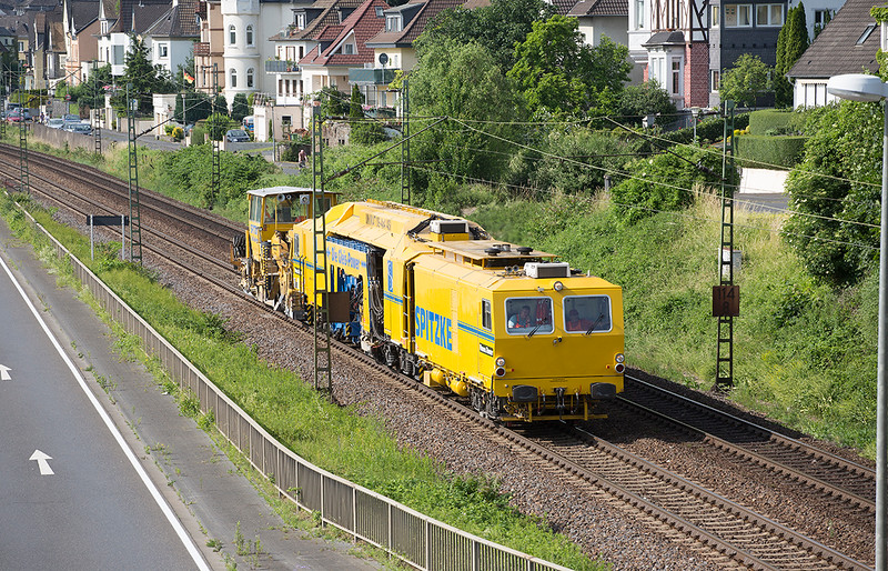 DB Track machine heads south at Linz on 13th June 2015