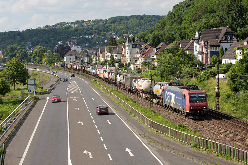 SBB 482-023 heads south with a freight at Linz on 13th June 2015