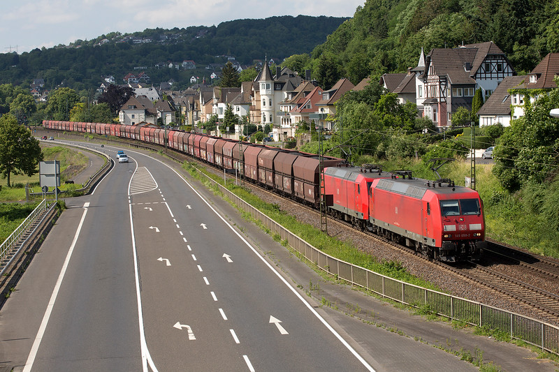 145-059 + 145-001 head south with a loaded coal train at Linz on 13th June 2015