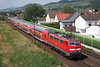 111-190 heads a rake of double decker stock ex Frankfurt away from Laudenbach on 12th June 2015