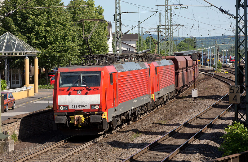 189-036 and an UID sister (bodyside  number deliberately obscured for some reason?) head a coal train northbound at Remagen on June 14th 2015