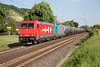 185-604+618 head a heavy tank train northward at Leutesdorf on June 14th 2015