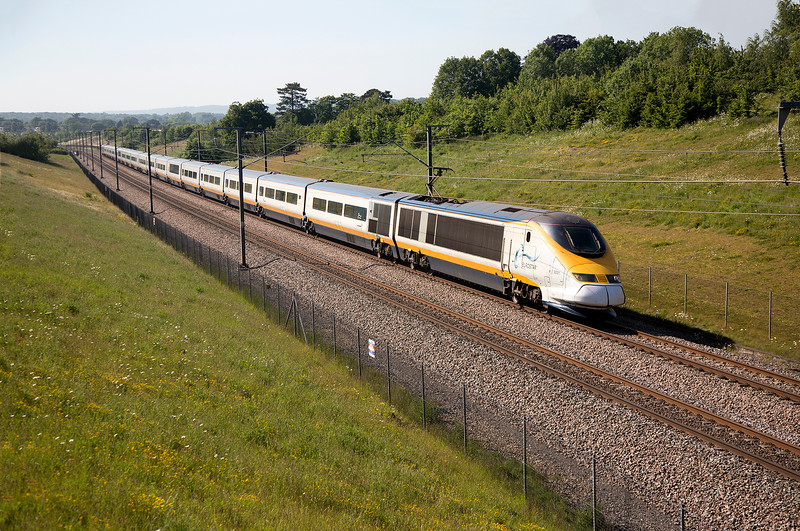 3021 at full line speed heads for the coast with the 16:22 London St Pancras to Paris Nord on 11th June 2015