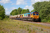 """""""Rainbow"""" shed 66720 passes Walton Footbridge in the required """"Full Bling"""" working a 6E84 08:20 Middleton Towers to Monk Bretton Sand Train on 2nd June 2015"""