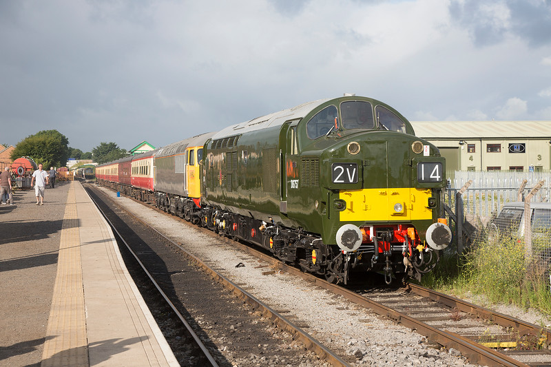 37057 stands at Leeming bar with 56098 behind on 18th July 2015