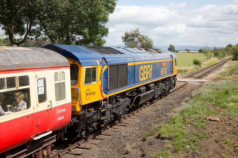 66761 at the rear of the 13:00 Leeming Bar to Redmire at Newton le Willows on 18th July 2015