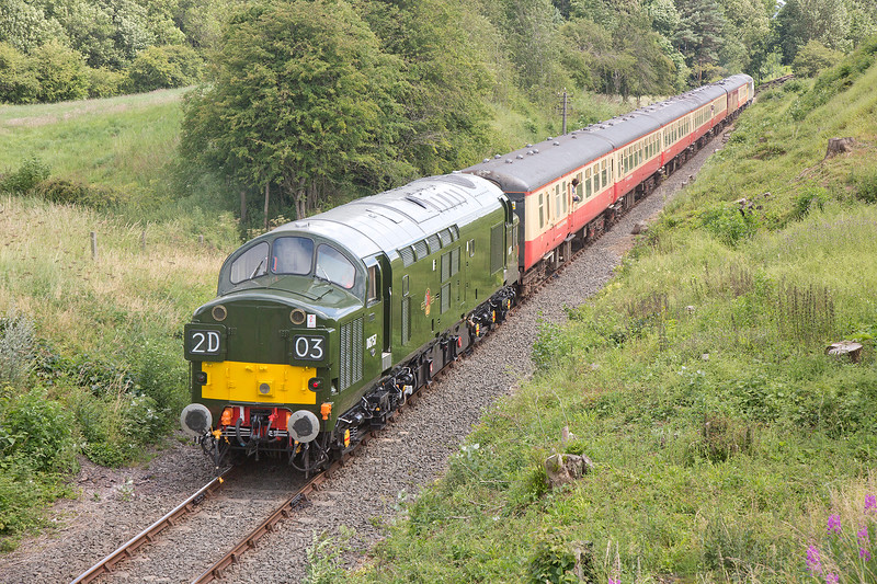 37057 brings up the rear of the 11:45 Redmire to Leeming Bar at Crakehall on 18th July 2015