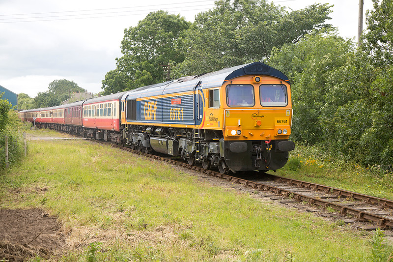 66761 leaves Leyburn with the 14:20 Redmire to Leeming Bar on 18th July 2015