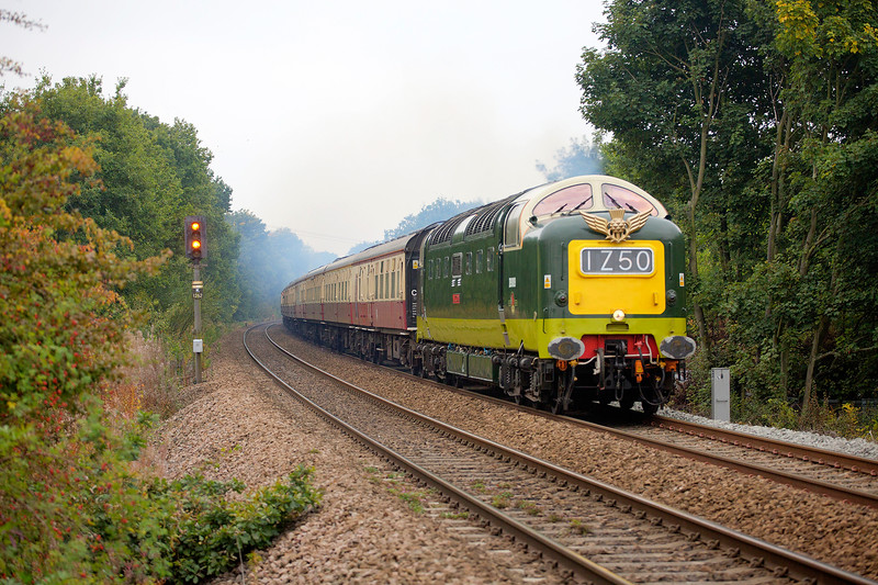 "D9009 'Aycidon' powers past Kirkthorpe foot crossing while in charge of the first leg of""The Magnificent Settle & Carlise"" an 08:18 London Kings Cross to Carlisle on 3rd October 2015"