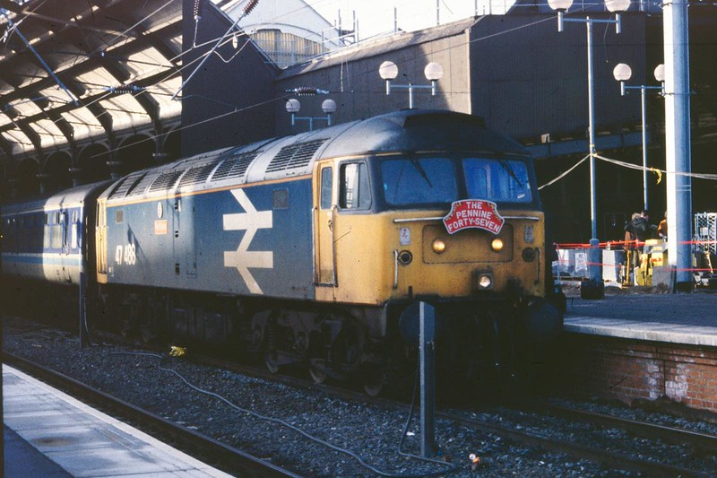 47488 awaits to leave Newcastle with the 14:20 Newcastle to Liverpool Lime Street on 19th January 1991, the penultimate day for loco hauled services on the Trans Pennine route
