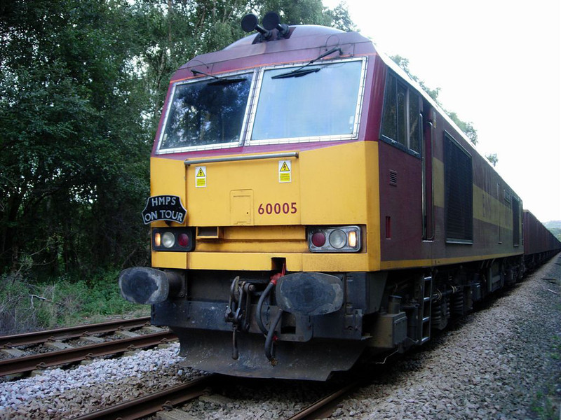 60005 during a signal check at Greetland while workin a 6M79 Redcar to Clitheroe Box Coal on 16th September 2005