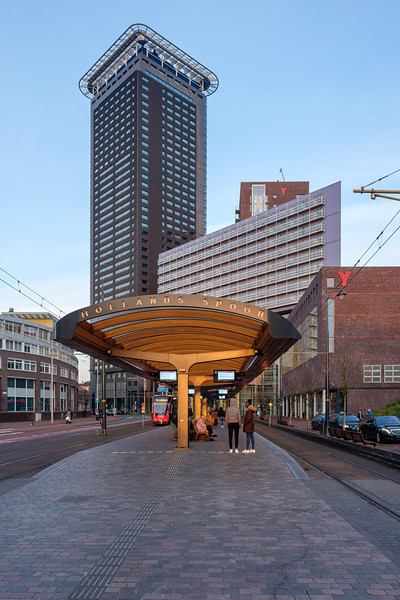 Hollands Spoor Tram Stop & The Hague Tower