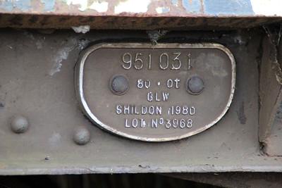 iu No3 ex BDA 951031 Bogie Flat works plate at Queensborough Invicta Scrap Merchants 12/01/13.