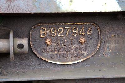 iu No4 ex B927944 42t Bogie Flat works plate at Queensborough Invicta Scrap Merchants 12/01/13.