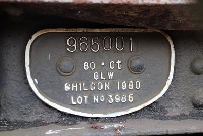 iu No5 ex BMA 965001 58t Bogie Flat works plate at Queensborough Invicta Scrap Merchants 12/01/13.