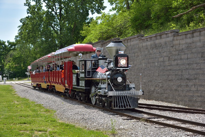 Replica C.P. Huntington Loco No.340 takes visitors on a ride around the museum grounds. <br /> <br /> The Museum of Transportation St Louis.MO.<br /> 19 May 2015