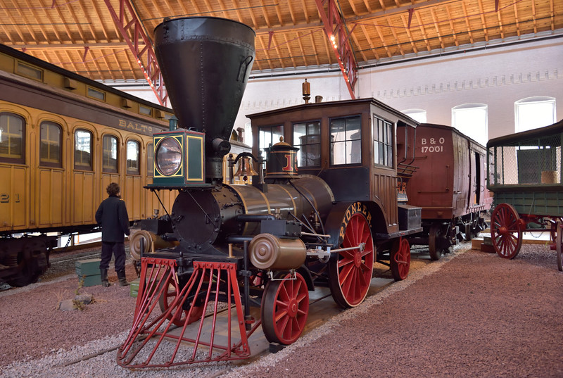 "The ""Pioneer"" was built in 1851 by the Union Works in South Boston and finally withdrawn  in 1901.<br /> As a tenderless wood burning 2-2-2  it is officially referred to as a ' tank' loco<br /> <br /> B&O Railroad Museum Baltimore<br /> <br /> 8 May 2015"