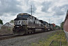I was actually looking for the preserved Middletown and Hummelstown line when this freight suddenly appeared.<br /> Norfolk Southern D9-40CW  No.9970 leads classmates 9942 and 9549 through Hummelstown PA.<br /> <br /> 9  May 2015