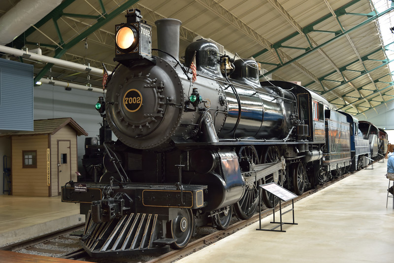 Although numbered PRR 7002 this  Class E-7S 4-6-0 was refurbished from No.8063 <br /> The original loco was built at Juniata Works in1902 and was linked with a claim to have achieved a disputed top speed of 127.1 mph in 1905.<br /> <br /> Railroad Museum of Pennsylvania   Strasburg. PA<br /> 9  May 2015