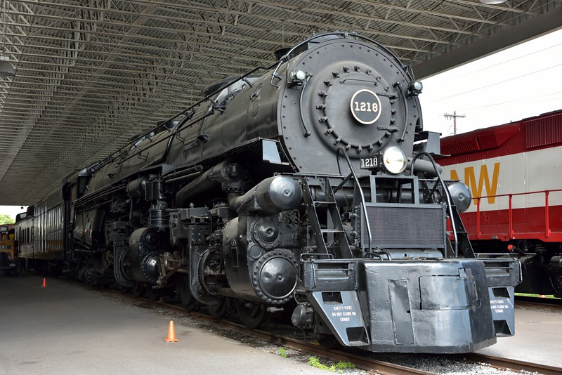 Norfolk & Western A class 2-6-6-4 No.1218<br /> Originally built in 1936  for use on fast freight trains<br /> <br /> Virginia Museum of Transportation <br /> Roanoke. VA<br /> <br /> <br /> 14  May 2015