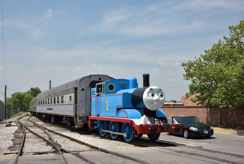 Our arrival in Baltimore coincided with a Thomas event which had been postponed from an earlier date due to recent civil unrest in the city.<br /> The event was well supported with families all enjoying rides in the yard behind this beautifully turned out Thomas loco. <br /> <br /> B&O Railroad Museum  Baltimore<br /> <br /> 8 May 2015