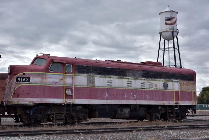 Ex Carolina Southern EMD F7A No.9163 in the yard at Alamosa waiting for possible refurbishment.