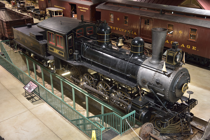 Pennsylvania Railroad Class H3 2-8-0  No. 1187 <br /> built in 1888 at Altoona <br /> The loco is positioned over an inspection pit enabling a more unusual close view from below.<br /> <br /> Railroad Museum of Pennsylvania  Strasburg. PA<br /> 9  May 2015