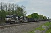 Norfolk Southern D9-40CWNo.9659 /SD60 No.6760 haul a long rake of empty coal hoppers through Cresson.PA.<br /> <br /> 11  May 2015