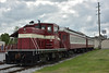 Former Standard Slag & Stone No.46 GE Switch loco stands at Middletown with a pair of former DL&W Pullman Passenger coaches (329,352) dating back to around 1916-1920<br /> <br /> Middletown & Hummelstown Railroad<br /> 9  May 2015
