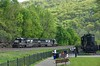 SD40E Nos. 6307 / 6324 run light engine past Horseshoe Curve <br /> <br /> Horseshoe Curve Park<br /> Altoona PA.