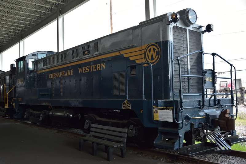 Chesapeake Western Baldwin DS-4-4-660 No.662<br /> built by Baldwin  in 1946 and withdrawn in 1964.<br /> <br /> Virginia Museum of Transportation <br /> Roanoke. VA<br /> <br /> 14 May 2015