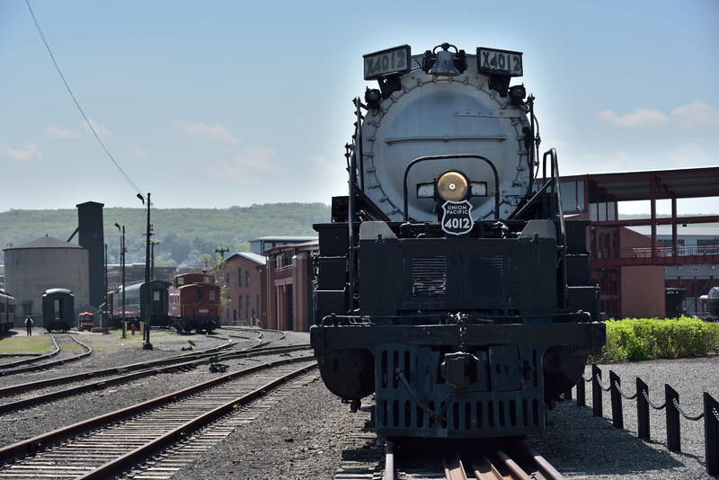 Union Pacific 4-8-8-4 ' Big Boy ' <br /> makes an impressive sight as it basks in the sunshine.<br /> <br /> Steamtown. Scranton. PA.<br /> 10 May 2015