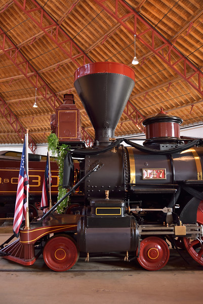 Thatcher Perkins 4-6-0  B&O No. 147<br /> Originally built in 1863.<br /> <br /> B&O Railroad Museum Baltimore<br /> <br /> 8 May 2015