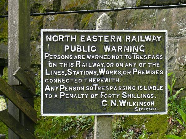 North Eastern Railway Warning Sign 110427 Grosmont