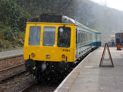 51321 shows off it's blue and grey side in heavy snow at Shackerstone on the 6th April 2008