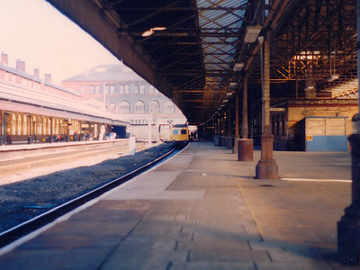 A class 120 set waits at Bolton during Spring/Summer 1986